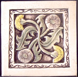 handmade flower ceramic tile