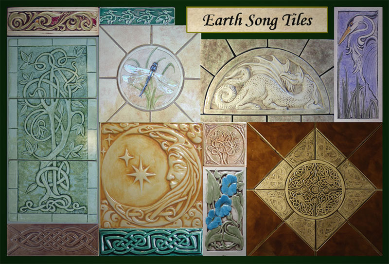 Decorative handmade ceramic tile art